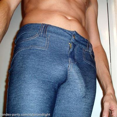 Gay Spandex Lycra Tight jeans photos